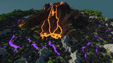 Fantasy Volcano, Glowing Cracks, Huge Hammers 1k/1k Map Minecraft Map & Project