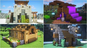 How to Build Simple Starter House (4 Different Biomes) Minecraft Map & Project