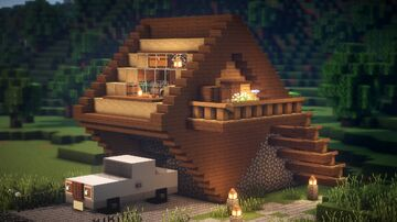Minecraft : How to build a epic wooden modern house Minecraft Map & Project