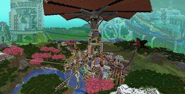 """Intrigue"" the Cyberpunk Umbrella city Minecraft Map & Project"