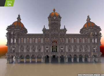 Minecrafteate in RTX, Nº26: Replica of the City Council of A Coruña, Spain. Minecraft Map & Project