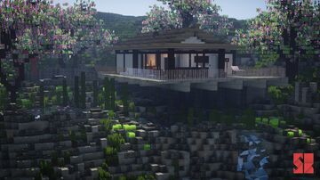 Cliff Side Japanese House Minecraft Map & Project
