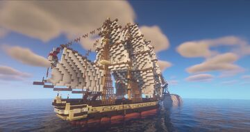 Three masted Heavy Frigate Minecraft Map & Project