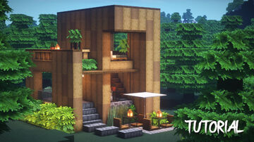 MINECRAFT : HOW TO BUILD A WOODEN HOUSE Minecraft Map & Project