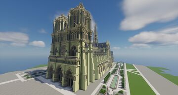 Notre Dame de Paris Cathedral - 2.7 to 1 Scale Replica Minecraft Map & Project