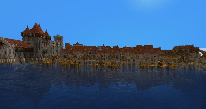 The new fisher district built by me and a fort on the left
