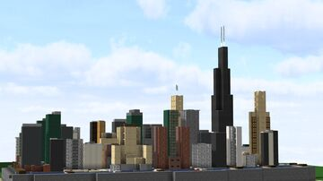 Chicago, Illinois | Miniature Representation in 1:20 Scale Minecraft Map & Project
