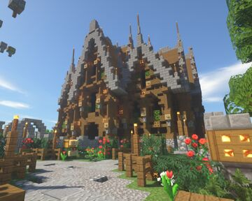 Medieval fantasy House/shop with gardens Minecraft Map & Project