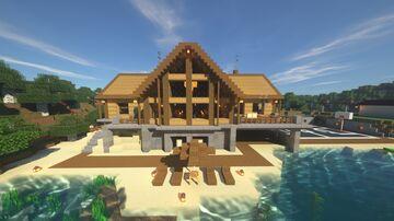 Minecraft Wooden Mansion w/ Basketball Court Minecraft Map & Project