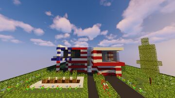 1.15 Modern House #2 - Special American Flag Front [NO INTERIOR] Minecraft Map & Project