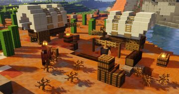 Wild West Covered Wagon  - Starter Base - With Interior - Werstern Build Minecraft Map & Project