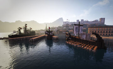 Ancient Harbor City + Ships Minecraft Map & Project