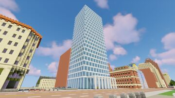 Oakwood City: Simple Glass Facade High Rise Minecraft Map & Project