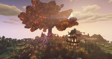 Colossal Autumn Tree and Landscape Minecraft Map & Project