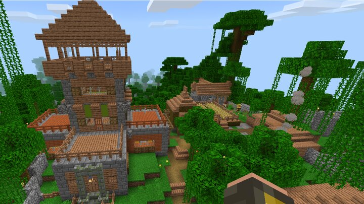 Player starts at the pre-made custom village, and starter house.