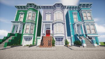 Chisel and Bits San Francisco Victorian Houses Minecraft Map & Project