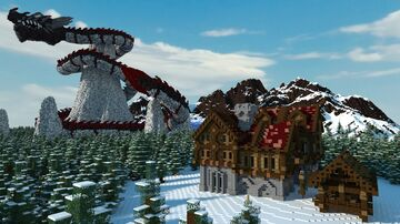 giant dragon and fantasy house in a snowy tundra Minecraft Map & Project