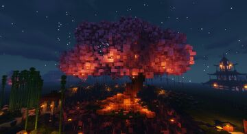 Japanese Cherry Blossm Tree + buildings Minecraft Map & Project