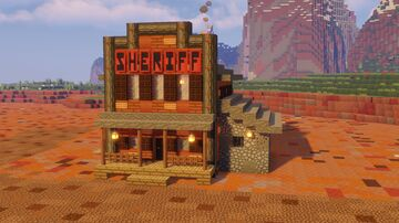 Minecraft Sheriffs Office TUTORIAL- How to build a Sheriff's office - Minecraft Wild West Builds Minecraft Map & Project