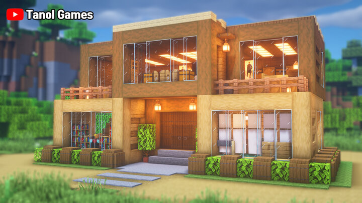 Minecraft How To Build A Wooden Modern House Easy Minecraft Map