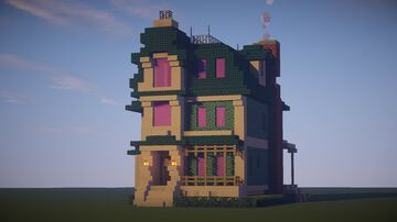 Blue Victorian Townhouse Minecraft Map & Project