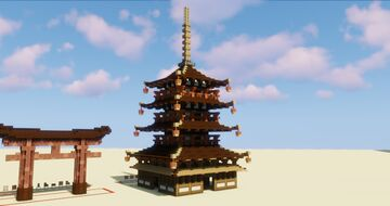 Freestyle Japanese Pagoda Challenge - Using growable blocks only - Timelapse Minecraft Map & Project