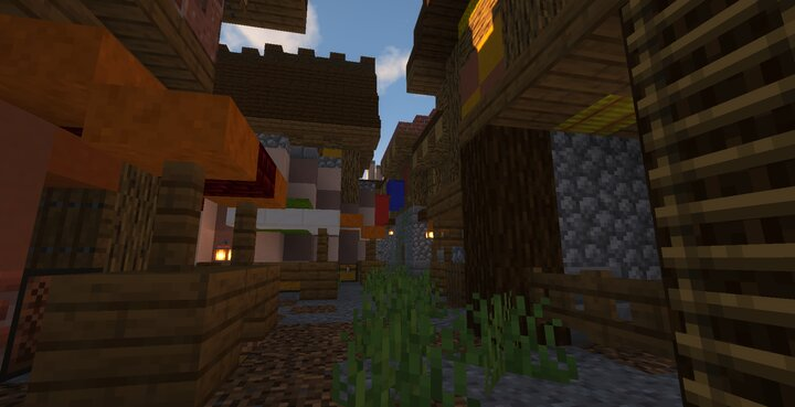 The Marketplace, booming with business on a weekly basis, as serfs, farmers, and miners bring their products to sell.