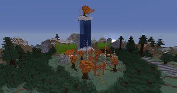 Hidden Autumn Waterfall Valley Minecraft Map & Project