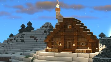 Minecraft: How to Build a Snowy Cottage/Log Cabin | Snowy Taiga Biome 🌲 Minecraft Map & Project