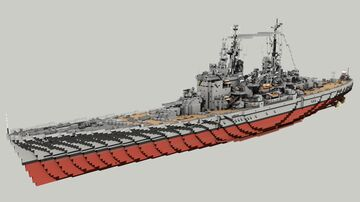 British Battleship HMS Vanguard 1:1 Minecraft Map & Project
