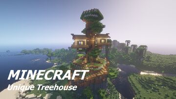 Inspiring Treehouse on a cliff Minecraft Map & Project