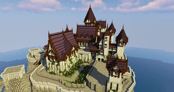 Gothic-Inspired Castle on the Coast Minecraft Map & Project