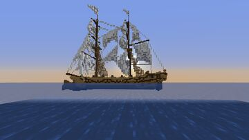 Den Ruste Zelve, a 2 masted brig based on the AC4 Jackdaw Minecraft Map & Project