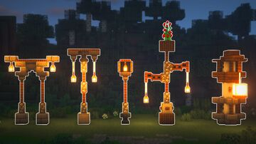 5 Unique LAMP POST Designs Minecraft Map & Project