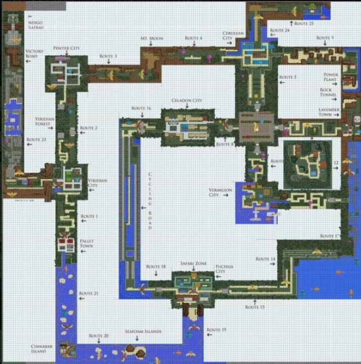 Kanto overworld map  with town markings small easter egg, our spawn town in in the map too