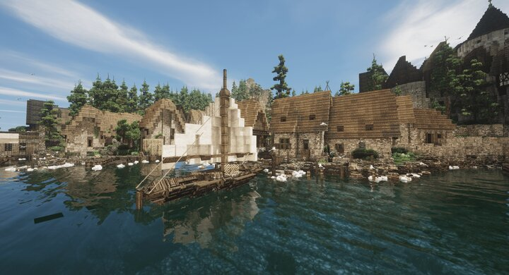 The docks at the side of the farmer's town