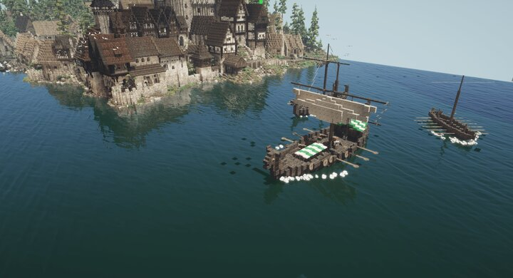Viking ships nearing the coast