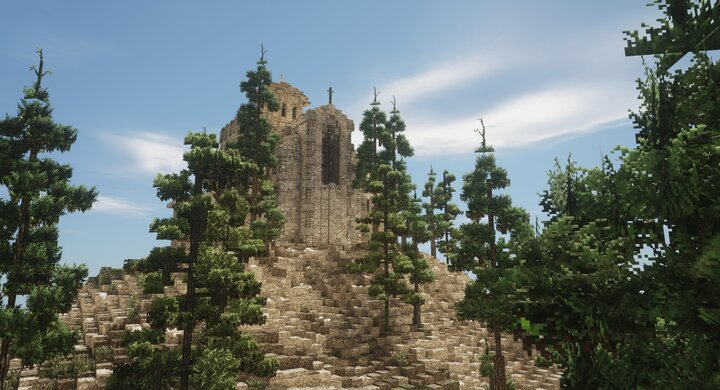 The grand cathedral at the top of the mountain