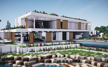 Modern Hillside Mansion ||BPN SERVER Minecraft Map & Project