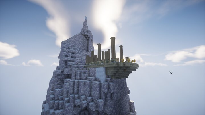 The top of the great mountain. An ancient ruin sits on the top.