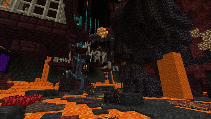 Spooky blackstone statue... Is that a Nether portal?
