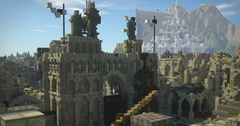 Looking at Minas Tirith from within the city.