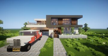 Small Modern House #8 (map download + decorated) 🏡 Minecraft Map & Project