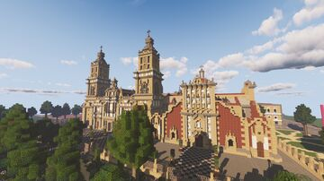 Mexico City Metropolitan Cathedral and Zócalo, 1888 (1:1 Scale) Minecraft Map & Project