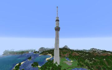 サバイバル用スカイツリー(高さ192ブロック) | Survival-Friendly Skytreee (192 blocks tall) Minecraft Map & Project