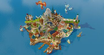 Fantasy Island Guarded by Two Legendary Birds Minecraft Map & Project