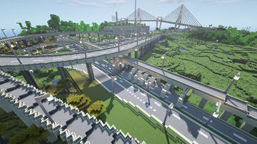 2 large highway interchange and road junction Minecraft Map & Project