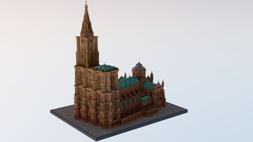 Cathédrale Notre Dame de Strasbourg - 1:1 Scale BTE Minecraft Map & Project