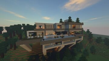 Modern Mansion 1 - Mountain Modern Mansion/House Minecraft Map & Project