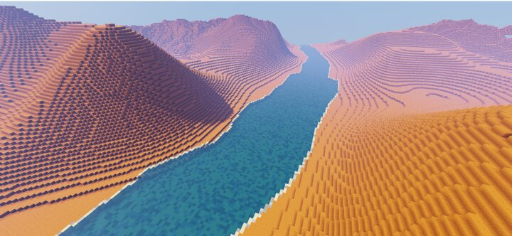 The Red Desert Hills with a river splitting it